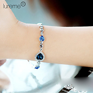 cheap Necklaces-Women's Sapphire Crystal Charm Bracelet Layered Stacking Stackable Aquarius Ladies Multi Layer Alloy Bracelet Jewelry Royal Blue For Party Daily Casual Sports