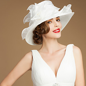 cheap Historical & Vintage Costumes-Organza Kentucky Derby Hat / Hats with Sash / Ribbon 1 Wedding / Special Occasion / Casual Headpiece