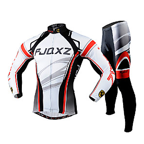 cheap Costume Wigs-FJQXZ Men's Long Sleeve Cycling Jersey with Tights White Bike Clothing Suit Breathable 3D Pad Quick Dry Ultraviolet Resistant Back Pocket Winter Sports Polyester Mesh Curve Mountain Bike MTB Road