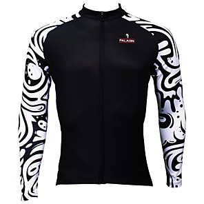 cheap Bikes-ILPALADINO Men's Long Sleeve Cycling Jersey Winter Black / White Patchwork Bike Jersey Top Mountain Bike MTB Road Bike Cycling Breathable Quick Dry Ultraviolet Resistant Sports Clothing Apparel