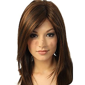 cheap Synthetic Lace Wigs-Synthetic Wig Straight Straight Layered Haircut Full Lace Wig Long Dark Brown Synthetic Hair Women's Waterfall Brown