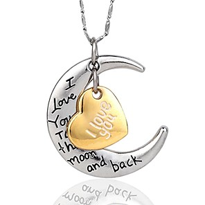 cheap Necklaces-Women's Pendant Necklace Engraved Moon Heart Crescent Moon i love you to the moon and back Ladies Personalized Silver Plated Gold Plated Gold / Silver Silver Necklace Jewelry For Party Birthday Gift
