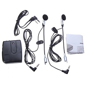 cheap Motorcycle Helmet Headsets-Motorcycle Helmet to Helmet Intercom Set 2 Headsets MP3 Input