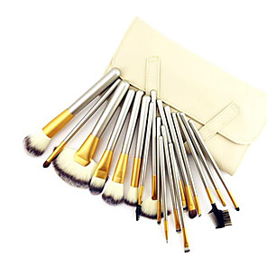 cheap Makeup Brush Sets-18PCS Professional Shine Luxury Gold Color Handle Persian Wool Brush Set