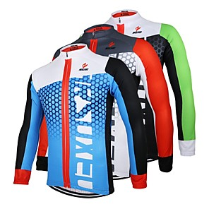 cheap Blush-Arsuxeo Men's Long Sleeve Cycling Jersey Black / Green White+Red Bule / Black Bike Jersey Top Breathable Quick Dry Anatomic Design Sports 100% Polyester Mountain Bike MTB Road Bike Cycling Clothing