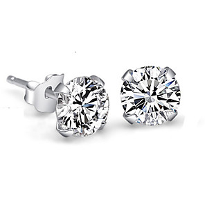 cheap Necklaces-Women's Crystal Synthetic Diamond Stud Earrings Round Cut Ladies Elegant Simple Style Bridal Blinging Small Sterling Silver Crystal Rhinestone Earrings Jewelry White For Wedding Party Daily Casual
