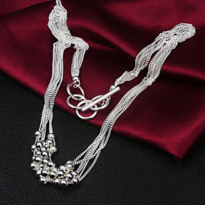 cheap Necklaces-Statement Necklace Liquid Silver Necklace Statement Party Work Casual Sterling Silver Silver Silver Necklace Jewelry 1pc For