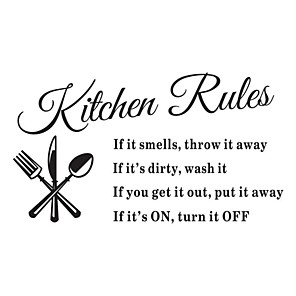 cheap Wall Stickers-Wall Stickers Wall Decals, Kitchen Rules English Words & Quotes PVC Wall Stickers 1pc