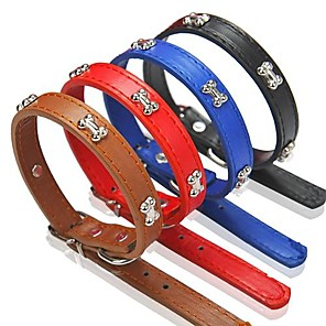 cheap Dog Collars, Harnesses & Leashes-Dog Collar Adjustable / Retractable PU Leather Red Blue