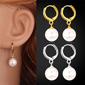 cheap Earrings-Women's Pearl Drop Earrings Ladies Birthstones Pearl Imitation Pearl Platinum Plated Earrings Jewelry Golden / Silver For Wedding Party Daily Casual Sports Masquerade / Gold Plated