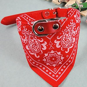 cheap Dog Clothes-Cat Dog Necklace Bandanas & Hats Tie / Bow Tie Waterproof Dog Clothes Red Blue Green Costume PU Leather XS S L
