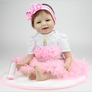 """cheap Reborn Doll-NPKCOLLECTION 22 inch NPK DOLL Reborn Doll Baby Reborn Baby Doll Newborn lifelike Hand Made Non Toxic Hand Applied Eyelashes Cloth 3/4 Silicone Limbs and Cotton Filled Body 22"""" with Clothes and"""
