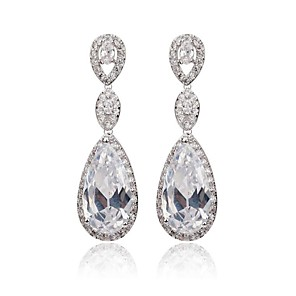 cheap Earrings-Women's White Cubic Zirconia Drop Earrings Ladies Classic Cubic Zirconia Earrings Jewelry White For Wedding Party Masquerade Engagement Party Prom
