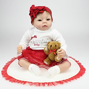 "cheap Reborn Doll-Reborn Doll Newborn lifelike Handmade Child Safe Non Toxic Silicone Vinyl 22"" with Clothes and Accessories for Girls' Birthday and Festival Gifts"
