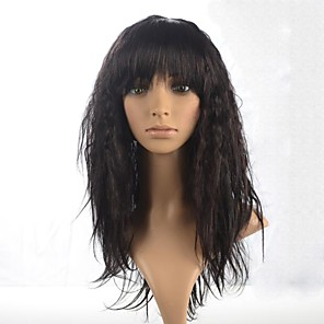 cheap Synthetic Trendy Wigs-Synthetic Wig Curly Curly With Bangs Wig Long Dark Brown Synthetic Hair 22 inch Women's Brown