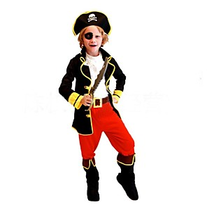 cheap Movie & TV Theme Costumes-Pirate Cosplay Costume Kid's Halloween Carnival Children's Day Festival / Holiday Polyester Carnival Costumes Patchwork / Shoes / Hat