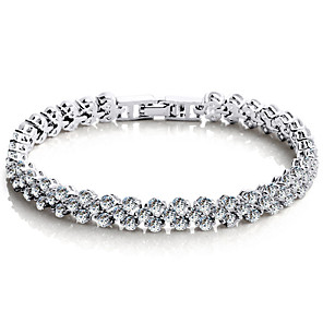 cheap Bracelets-Women's Crystal Chain Bracelet Tennis Bracelet Love Ladies Luxury Vintage Party Work Sterling Silver Bracelet Jewelry Silver For Wedding Party Masquerade Engagement Party Prom Promise / Zircon