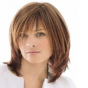 cheap Synthetic Trendy Wigs-Synthetic Wig Straight With Bangs Wig Medium Length Light Brown Synthetic Hair Women's High Quality Brown
