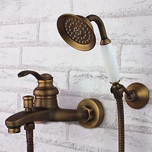 cheap Multi Holes-Shower Faucet - Antique Antique Brass Tub And Shower Ceramic Valve Bath Shower Mixer Taps / Single Handle Three Holes