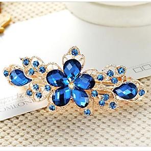 cheap Hair Jewelry-Women's Ladies Barrettes For Wedding Daily Flower Flower Crystal / Rhinestone Rhinestone Artificial Gemstones Purple Pink Green / Alloy