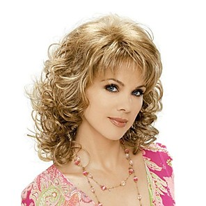 cheap Synthetic Trendy Wigs-Synthetic Wig Curly Curly With Bangs Wig Blonde Medium Length Brown With Blonde Synthetic Hair Women's Blonde