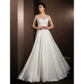 cheap Wedding Party Dresses-A-Line Wedding Dresses Scoop Neck Floor Length Satin Chiffon Short Sleeve Casual Plus Size with Beading Appliques 2020