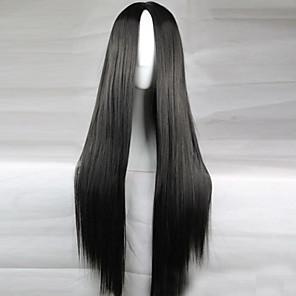povoljno Perike s ljudskom kosom-Sintetičke perike Ravan kroj Kardashian Stil Asimetrična frizura Perika Crn Sintentička kosa 28 inch Žene Prirodna linija za kosu Crna Perika Dug