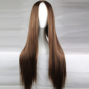 cheap Synthetic Lace Wigs-Cosplay Costume Wig Synthetic Wig Straight Straight Asymmetrical Wig Long Light Brown Dark Brown Black#1B Blonde Red Synthetic Hair 28 inch Women's Natural Hairline Middle Part Brown