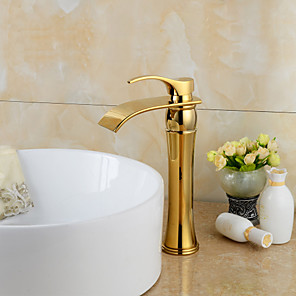 cheap Kitchen Faucets-Widespread Waterfall Bathroom Sink Faucet Ti-PVD Widespread One Hole / Single Handle One HoleBath Taps