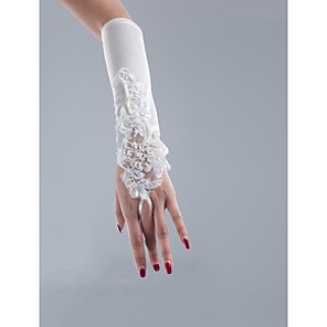 cheap Wedding Shoes-Net / Satin / Polyester Opera Length Glove Classical / Bridal Gloves / Party / Evening Gloves With Solid