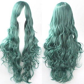 cheap Synthetic Trendy Wigs-Synthetic Wig Curly Loose Wave Natural Wave Natural Wave Curly Asymmetrical Wig Long Green Synthetic Hair 25 inch Women's Natural Hairline Green
