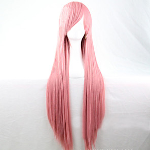 cheap Synthetic Trendy Wigs-Cosplay Costume Wig Synthetic Wig Straight Straight Asymmetrical Wig Pink Long Pink Synthetic Hair 28 inch Women's Natural Hairline Pink