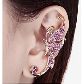cheap Earrings-Women's Synthetic Diamond Ear Cuff Climber Earrings Butterfly Animal Ladies Rhinestone Earrings Jewelry White / Purple For Wedding Party Daily Casual