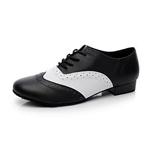 cheap Ballroom Shoes & Modern Dance Shoes-Men's Dance Shoes Leather Ballroom Shoes / Swing Shoes Heel Flat Heel Non Customizable Black and White / EU43