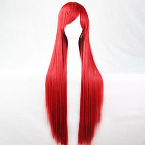 cheap Synthetic Trendy Wigs-Cosplay Costume Wig Synthetic Wig Straight Straight Asymmetrical Wig Long Red Synthetic Hair 28 inch Women's Natural Hairline Red