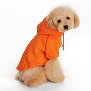 cheap Dog Clothes-Dog Hoodie Fleece Hoodie Dog Clothes Black Orange Red Costume Cotton Holiday XS S M L XL XXL