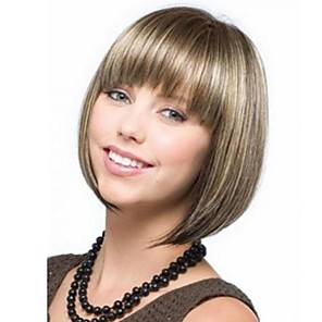 cheap Synthetic Lace Wigs-Synthetic Wig Straight Straight Bob With Bangs Wig Blonde Short Light Blonde Synthetic Hair 9 inch Women's With Bangs Blonde