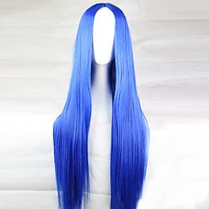 cheap Synthetic Lace Wigs-Cosplay Costume Wig Synthetic Wig Straight Straight Asymmetrical Wig Long Light Blue Synthetic Hair 28 inch Women's Natural Hairline Blue
