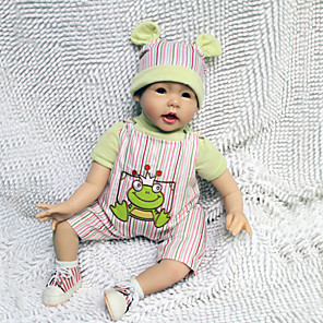 "cheap Reborn Doll-22 inch Reborn Doll Baby Reborn Baby Doll Newborn lifelike Handmade Child Safe Non Toxic Silicone Vinyl 22"" with Clothes and Accessories for Girls' Birthday and Festival Gifts / Kid's"