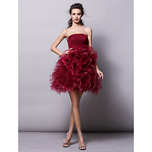 cheap Wedding Shoes-Ball Gown Hot Red Homecoming Cocktail Party Dress Strapless Sleeveless Short / Mini Tulle with Ruched Tier 2020