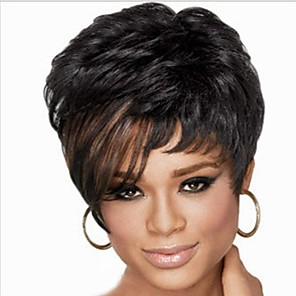 cheap Synthetic Trendy Wigs-Synthetic Wig Kinky Curly With Bangs Wig Short Black Women's Black
