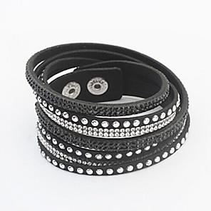 cheap Tattoo Stickers-Women's Crystal Wrap Bracelet Leather Bracelet Button Ladies European Fashion Leather Bracelet Jewelry Green / Blue / Pink For Party