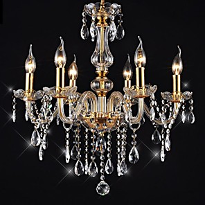 """cheap Pendant Lights-6-Light 55(21.7"""") Crystal / LED Chandelier Glass Glass Candle-style Electroplated Traditional / Classic 110-120V / 220-240V"""