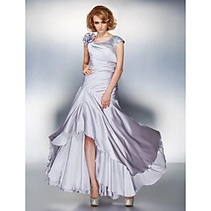 cheap Wedding Slips-A-Line Mother of the Bride Dress Lace Up Scoop Neck Asymmetrical Satin Chiffon Short Sleeve with Sequin Side Draping Flower 2020