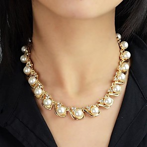 cheap Pearl Necklaces-Women's Pearl Beaded Necklace Pearl Necklace Rosary Chain Ladies Fashion Pearl Alloy Necklace Jewelry For Wedding Party Daily Casual