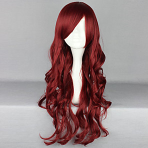 cheap Costume Wigs-Cosplay Costume Wig Synthetic Wig Curly Deep Wave Deep Wave Asymmetrical With Bangs Wig Long Red Synthetic Hair Women's Natural Hairline Side Part Red