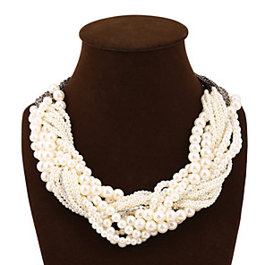 cheap Jewelry Sets-Women's Pearl Statement Necklace Layered Chinese Knot Statement European Fashion Multi Layer Imitation Pearl Alloy Screen Color Necklace Jewelry For Party / Evening