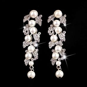 cheap Earrings-Vintage Party Wedding Princess Birde Crown Rhinestone Crystal Pearl Long Silver Earring