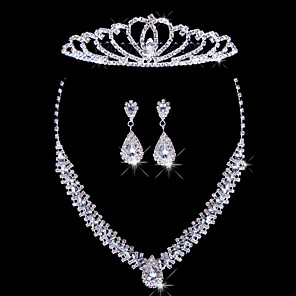 cheap Jewelry Sets-Women's Silver Jewelry Set Earrings Jewelry For Wedding Party Special Occasion Anniversary Birthday Gift / Necklace / Engagement