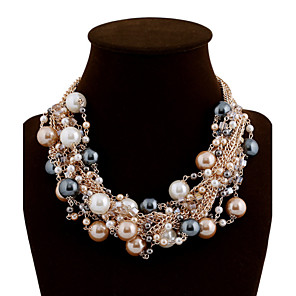 cheap Necklaces-Women's Statement Necklace Pearl Necklace Ladies Luxury Festival / Holiday Color Pearl Alloy Rainbow White Black Pink Necklace Jewelry For Wedding Party Special Occasion